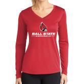 Ladies Syntrel Performance Red Longsleeve Shirt-Cardinal Head Ball State Cardinals