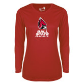 Ladies Syntrel Performance Red Longsleeve Shirt-Cardinal Head Ball State Cardinals Vertical