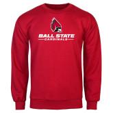 Red Fleece Crew-Cardinal Head Ball State Cardinals