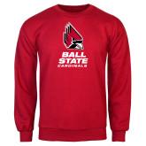 Red Fleece Crew-Cardinal Head Ball State Cardinals Vertical