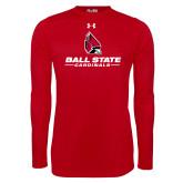 Under Armour Red Long Sleeve Tech Tee-Cardinal Head Ball State Cardinals