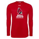 Under Armour Red Long Sleeve Tech Tee-Cardinal Head Ball State Cardinals Vertical