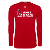 Under Armour Red Long Sleeve Tech Tee-Ball State Volleyball