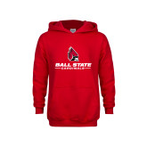 Youth Red Fleece Hoodie-Cardinal Head Ball State Cardinals