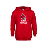 Youth Red Fleece Hoodie-Cardinal Head Ball State Cardinals Vertical