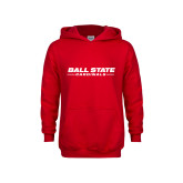 Youth Red Fleece Hoodie-Ball State Cardinals Wordmark