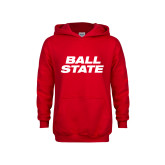 Youth Red Fleece Hoodie-Ball State Wordmark Vertical