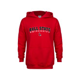 Youth Red Fleece Hoodie-Ball State University Arched