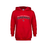 Youth Red Fleece Hoodie-Ball State University Cardinals Arched