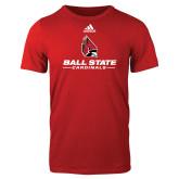 Adidas Red Logo T Shirt-Cardinal Head Ball State Cardinals