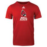 Adidas Red Logo T Shirt-Cardinal Head Ball State Cardinals Vertical