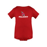 Red Infant Onesie-Cardinal Head Ball State Cardinals