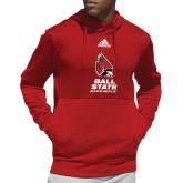 Adidas Red Team Issue Hoodie-Cardinal Head Ball State Cardinals Vertical