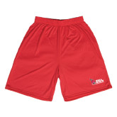 Syntrel Performance Red 9 Inch Length Shorts-Ball State Cardinals w/Cardinal on Side