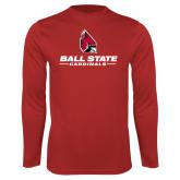 Performance Red Longsleeve Shirt-Cardinal Head Ball State Cardinals