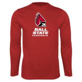 Performance Red Longsleeve Shirt-Cardinal Head Ball State Cardinals Vertical