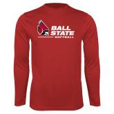 Performance Red Longsleeve Shirt-Ball State Softball