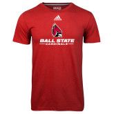 Adidas Climalite Red Ultimate Performance Tee-Cardinal Head Ball State Cardinals