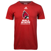 Adidas Climalite Red Ultimate Performance Tee-Cardinal Head Ball State Cardinals Vertical