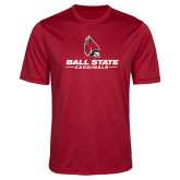 Performance Red Heather Contender Tee-Cardinal Head Ball State Cardinals