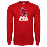 Red Long Sleeve T Shirt-Cardinal Head Ball State Cardinals Vertical