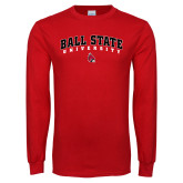 Red Long Sleeve T Shirt-Ball State University Arched