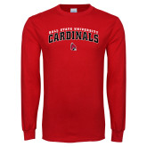 Red Long Sleeve T Shirt-Ball State University Cardinals Arched
