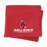 Red Sweatshirt Blanket-Cardinal Head Ball State Cardinals