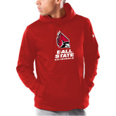 Under Armour Red Armour Fleece Hoodie-Cardinal Head Ball State Cardinals Vertical
