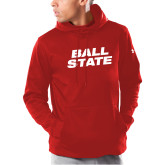 Under Armour Red Armour Fleece Hoodie-Ball State Wordmark Vertical