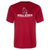 Performance Red Tee-Cardinal Head Ball State Cardinals