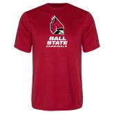 Performance Red Tee-Cardinal Head Ball State Cardinals Vertical