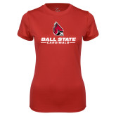 Ladies Syntrel Performance Red Tee-Cardinal Head Ball State Cardinals