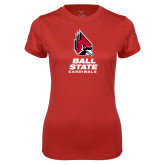 Ladies Syntrel Performance Red Tee-Cardinal Head Ball State Cardinals Vertical
