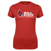 Ladies Syntrel Performance Red Tee-Ball State Football