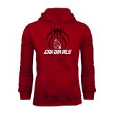 Cardinal Fleece Hood-Cardinals Basketball Stacked