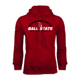 Cardinal Fleece Hood-Ball State Football Horizontal