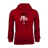 Cardinal Fleece Hood-Ball State Football Vertical
