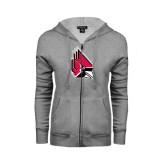 ENZA Ladies Grey Fleece Full Zip Hoodie-Cardinal
