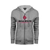 ENZA Ladies Grey Fleece Full Zip Hoodie-Ball State Cardinals w/ Cardinal