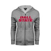 ENZA Ladies Grey Fleece Full Zip Hoodie-Ball State Stacked