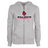 ENZA Ladies Grey Fleece Full Zip Hoodie-Cardinal Head Ball State Cardinals