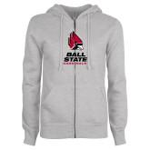 ENZA Ladies Grey Fleece Full Zip Hoodie-Cardinal Head Ball State Cardinals Vertical
