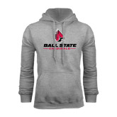 Grey Fleece Hoodie-Ball State Cardinals w/ Cardinal