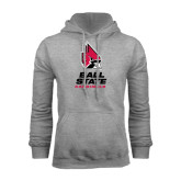 Grey Fleece Hoodie-Ball State Cardinals Stacked