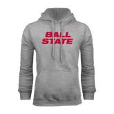 Grey Fleece Hoodie-Ball State Stacked