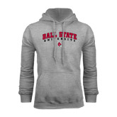 Grey Fleece Hoodie-Arched Ball State University