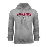 Grey Fleece Hood-Arched Ball State University