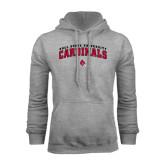 Grey Fleece Hood-Arched Ball State University Cardinals