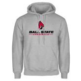 Grey Fleece Hoodie-Cardinal Head Ball State Cardinals